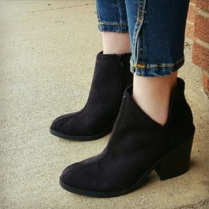 Shoes - JORDAN perforated suede ankle booties - BLACK